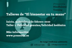 """El miércoles, 5 de febrero de 2020, taller sobre """"Felicidad genuina"""""""